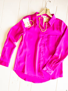 Hot Flamingo Satin Blouse