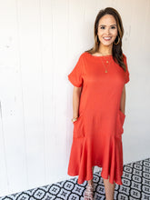 Load image into Gallery viewer, Hot Coral Midi Dress
