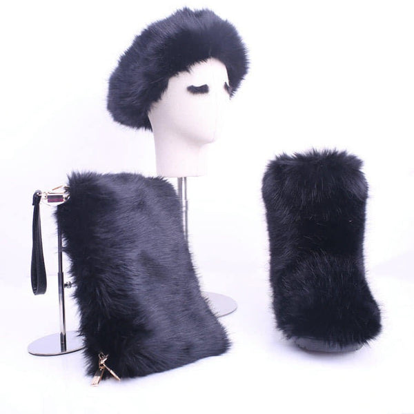 RoyalGoddessCollection Fluffy Fur Boot Set Black
