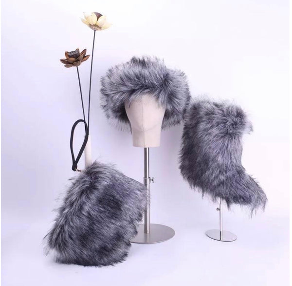 RoyalGoddessCollection Fluffy Fur Boot Set Grey