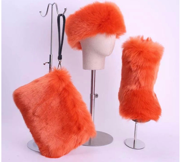 Copy of RoyalGoddessCollection Fluffy Fur Boot Set Orange
