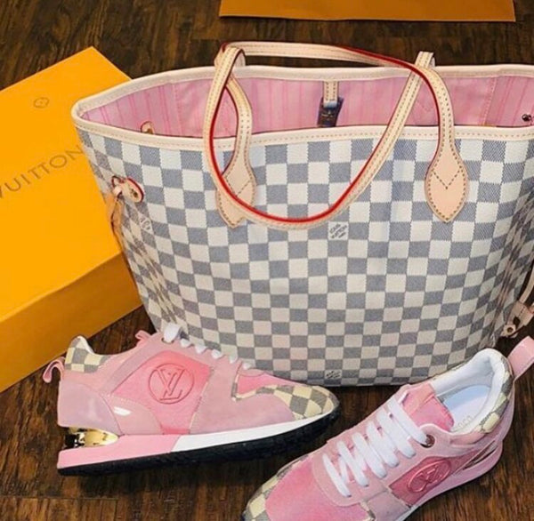 Louis Vuitton Damier Azur Neo Neverfull MM Rose Ballerine W LV Run Away Pink Sneakers