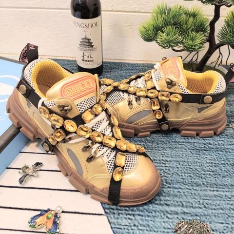 Flashtrek Hiking Sneakers with Removable Embellished Strap -Gold