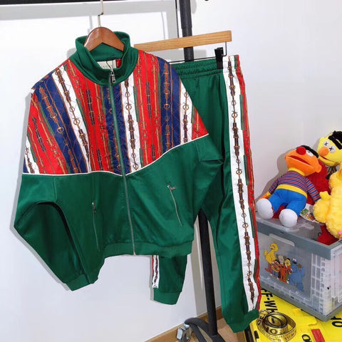 Gucci Bi-material Jacket & Pants Tracksuit in Green