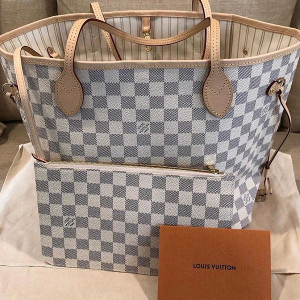 Louis Vuitton White MM Neverfull