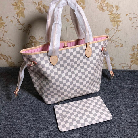 Louis Vuitton Damier Azur Neo Neverfull MM Rose Ballerine