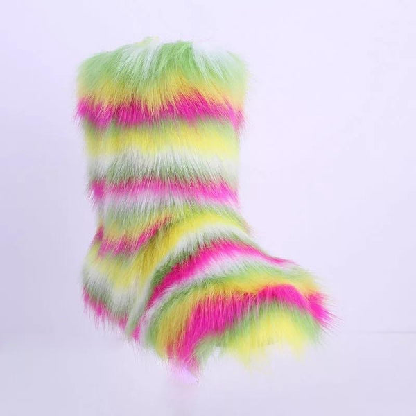 RoyalGoddessCollection Fur Boots - Sour Skittles