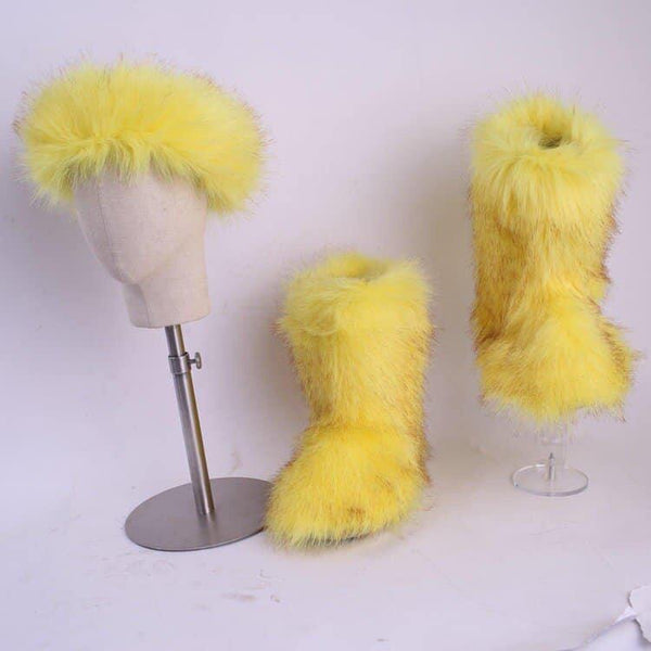 Royalgoddesscollection Fluffy Fur Boot Set Yellow