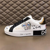 Dolce & Gabbana Portofino Sneakers in Printed Nappa Calfskin With Patch in White