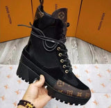 Louis Vuitton High Top Flat Boot in Black