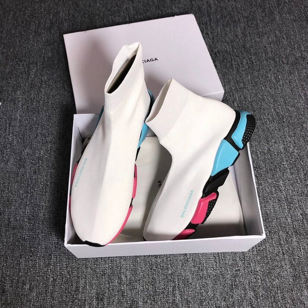 White Blue Pink Balenciaga Speed Trainers