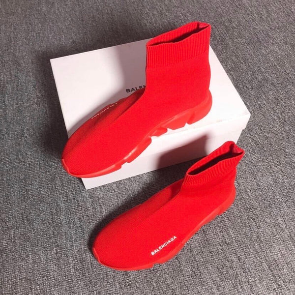 Red Balenciaga Speed Treed Trainers