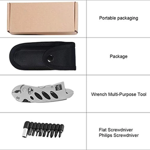 Portable folding multi-function wrench