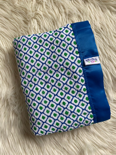 Green and Blue Geo Silky Trim Blanket