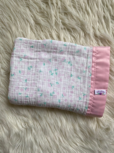 Light Pink Floral Silky Trim Blanket