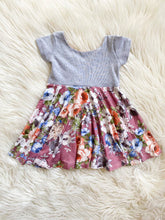 Load image into Gallery viewer, Gray & Mauve Floral Twirl Dress