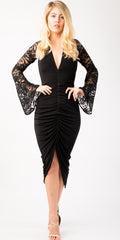 dress, black dress, lace sleeves, removable sleeves, detachable sleeves, lace detachable sleeves,