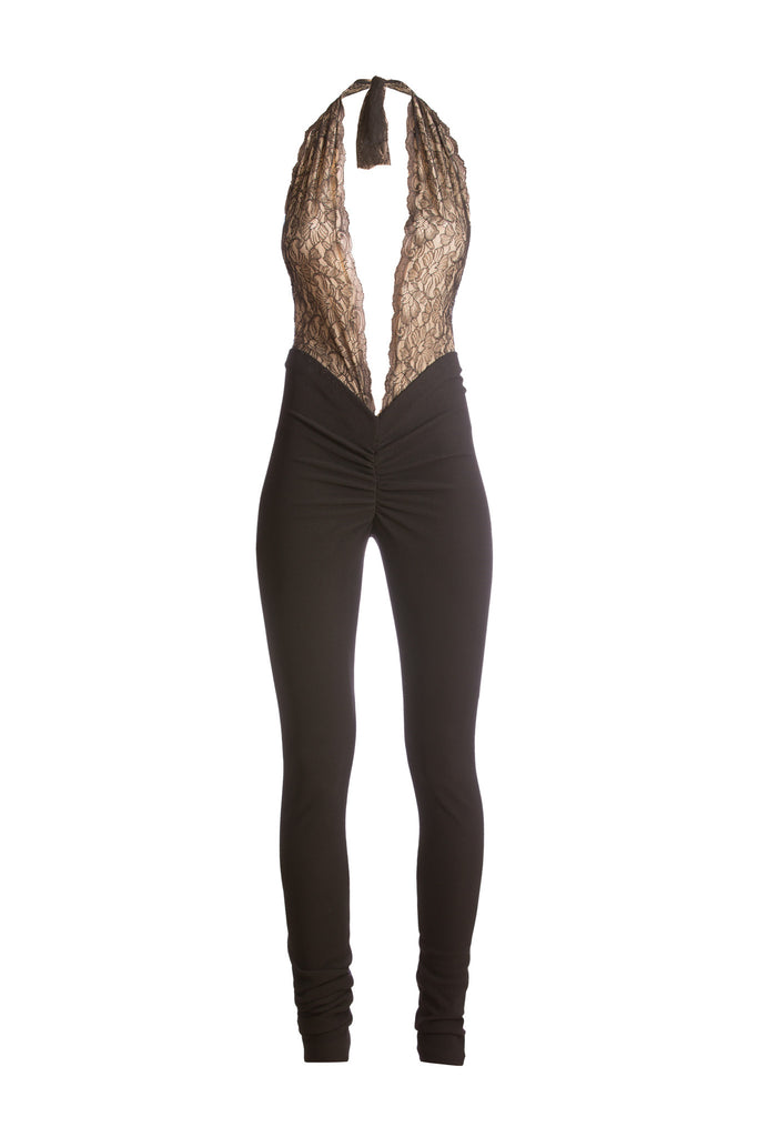Cwtchy Cwtchy French Lace halterneck V's Jumpsuit