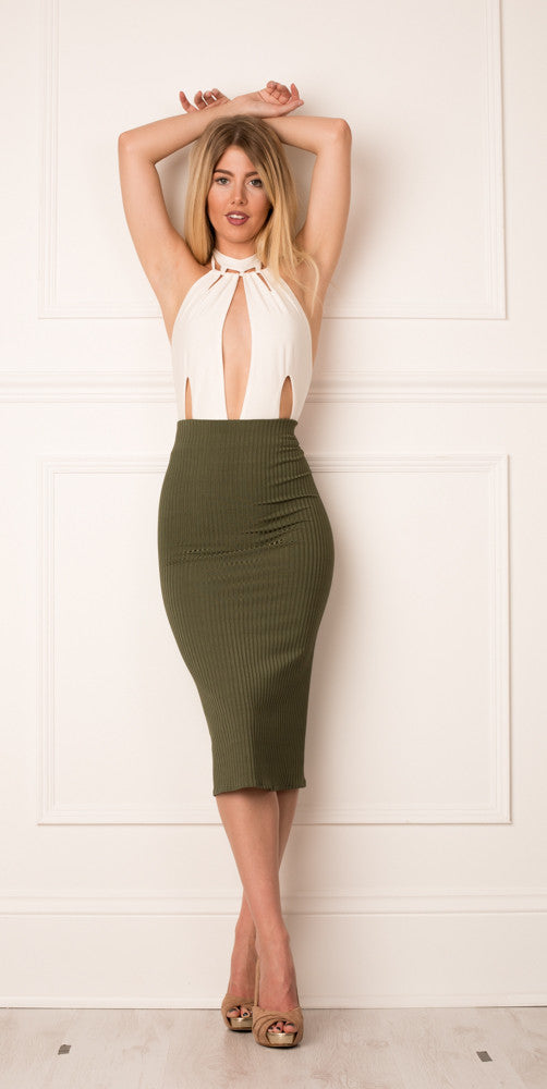 Olive stripe skirt