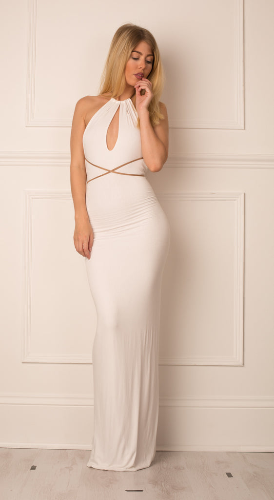 white dress, multiway dress, maxi dress