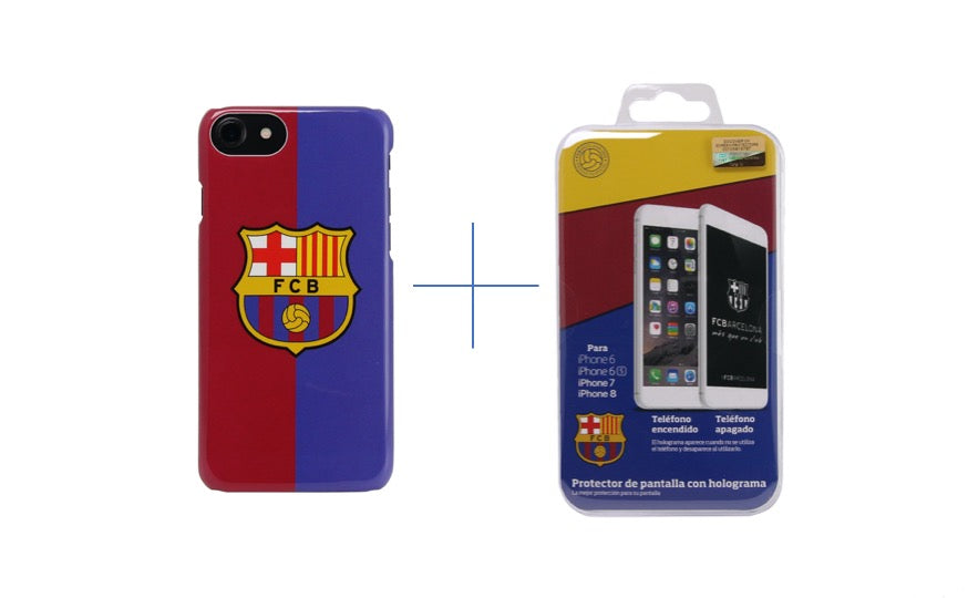 FC Barcelona Screen Protector + Hard Case Red/Blue Bundle iPhone 6/6S/7