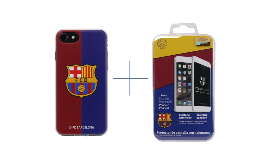 FC Barcelona Screen Protector + Soft Case Bundle iPhone 6/6S/7/8