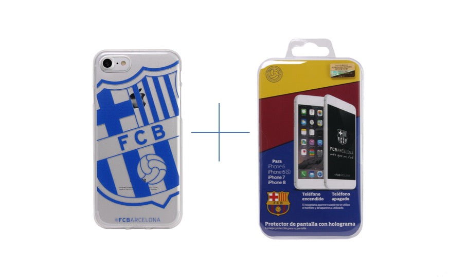 FC Barcelona Screen Protector + Soft Case Transparent Bundle iPhone 7/8