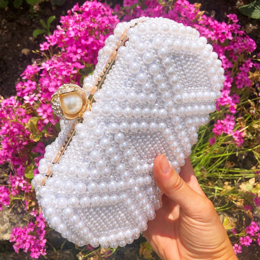 Pearl Clutch Bag (Ivory and Gold)