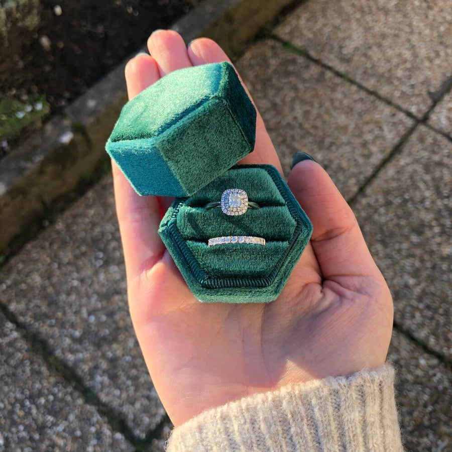 Forest Green Velvet Ring Box