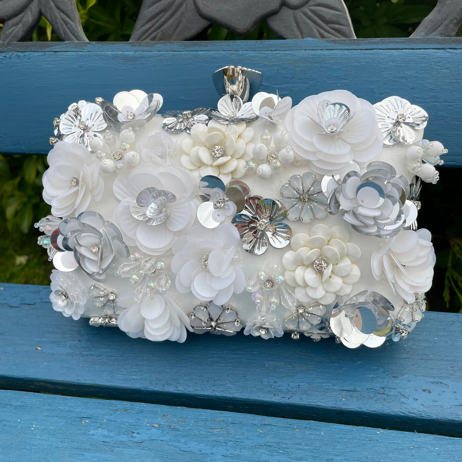Ivory Floral Clutch