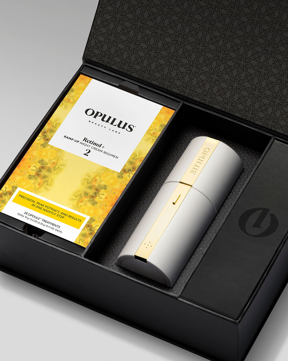 Open package with OPULUS Beauty Labs R2 night cream box and Opulus Activator™