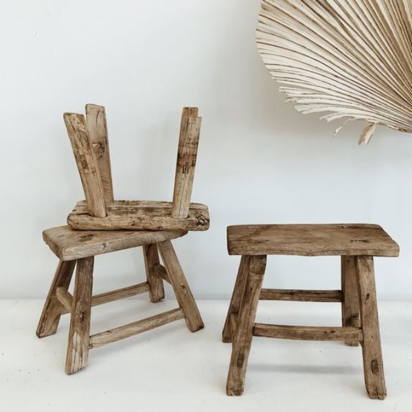 Elm Wooden Workers Stool - Small