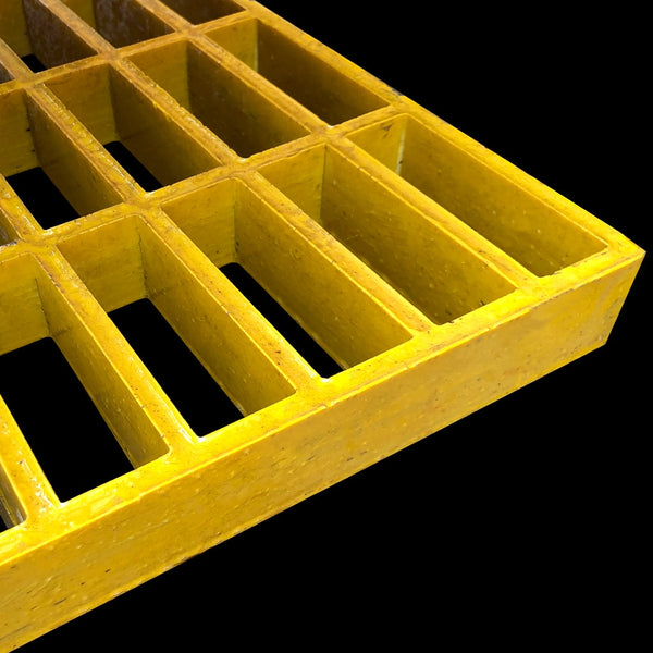 "Rectangular Mesh Grating, 1.5"" Thick, 1.5""x4"" Rectangle, Meniscus Surface, Yellow, Vinyl Ester Resin"