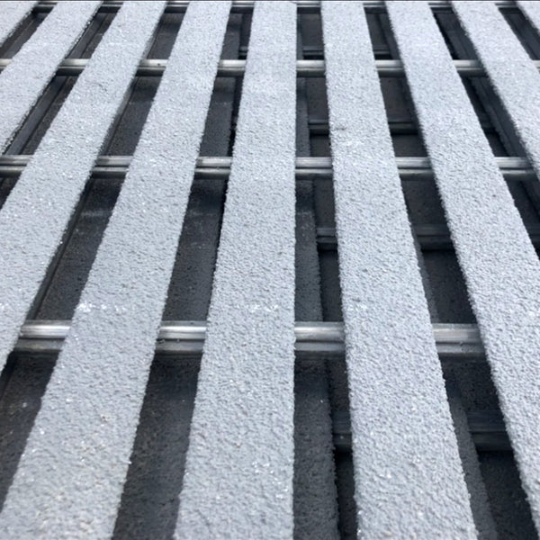 "Specialty Pultruded Grating, 1"" Thick, 38% Open Area, Vinyl Ester, Dark Gray"