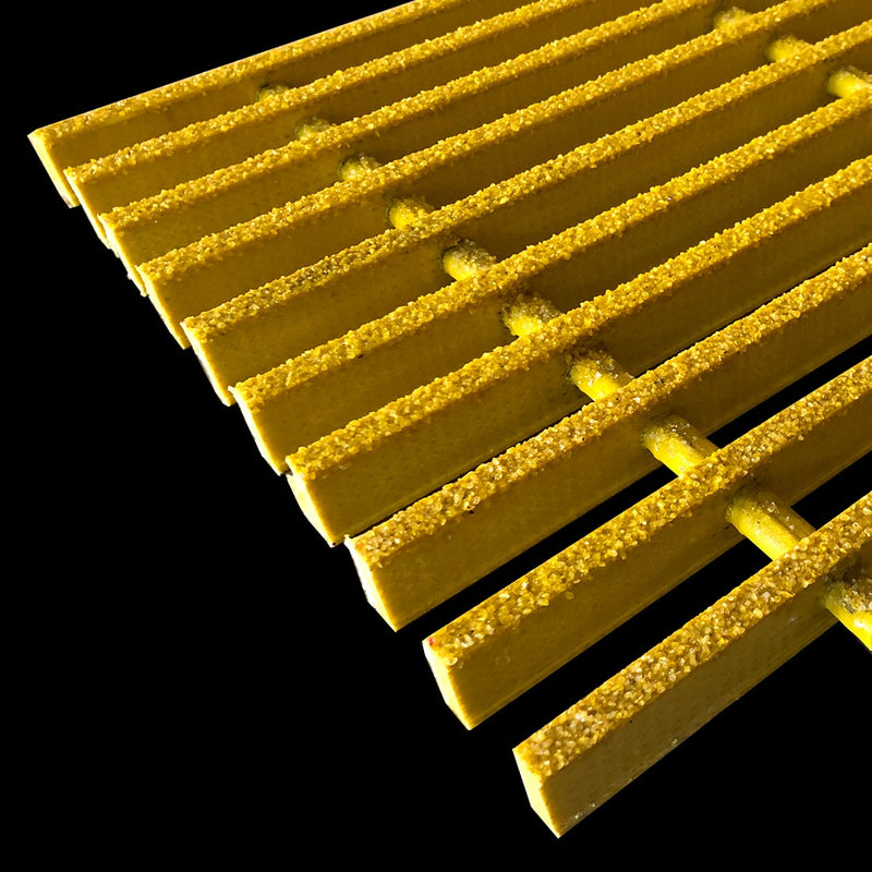 "Specialty Pultruded Grating, 1.5"" Thick, 73% Open Area, Isophthalic, Yellow"