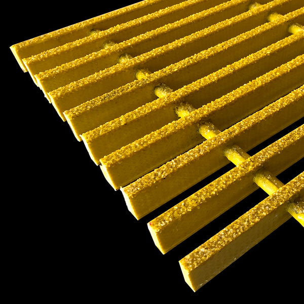 "Specialty Pultruded Grating, 1"" Thick, 73% Open Area, Vinyl Ester, Yellow"