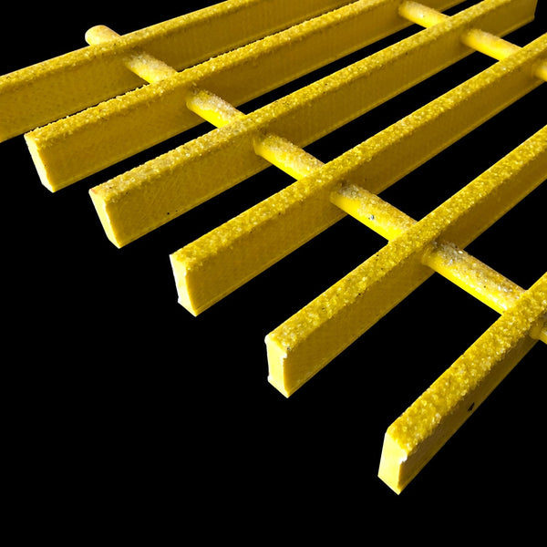"Specialty Pultruded Grating, 1"" Thick, 83% Open Area, Vinyl Ester, Yellow"