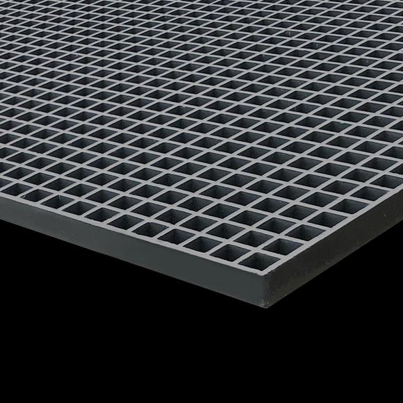 "Square Mesh Grating, 1"" Thick, 1-1/2"" Square, Meniscus Surface, Dark Gray, Vinyl Ester Resin"