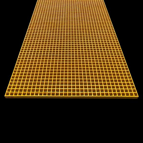 "Square Mesh Grating, 1"" Thick, 1-1/2"" Square, Meniscus Surface, Yellow, Orthophthalic Resin"