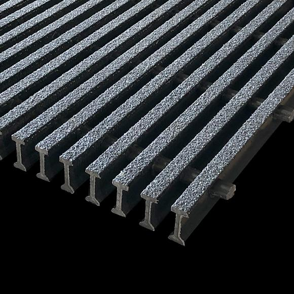 "I-Bar Grating, 1.5"" Thick, 40% Open Area, Isophthalic, Dark Gray"