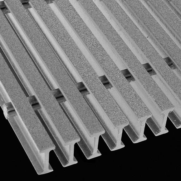 "I-Bar Grating, 1.5"" Thick, 40% Open Area, Vinyl Ester, Light Gray"