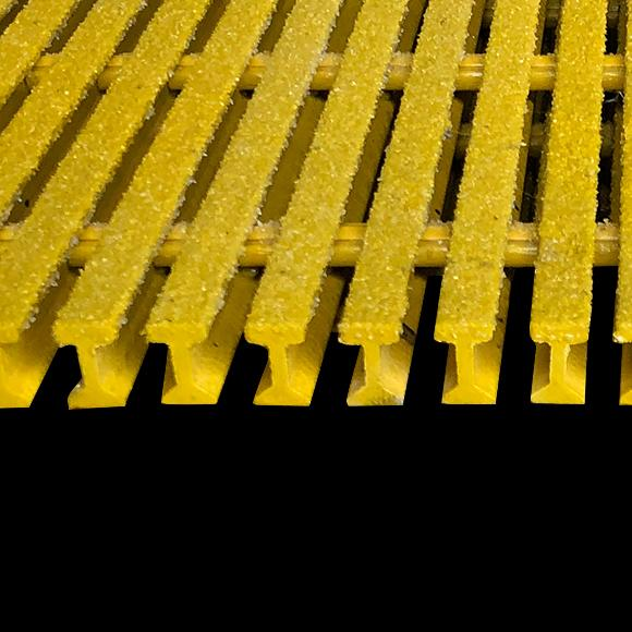 "I-Bar Grating, 1"" Thick, 50% Open Area, Isophthalic, Yellow"