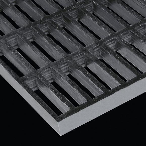 "Rectangular Mesh Grating, 1.5"" Thick, 1.5""x6"" Rectangle, Meniscus Surface, Dark Gray, Isophthalic Resin"