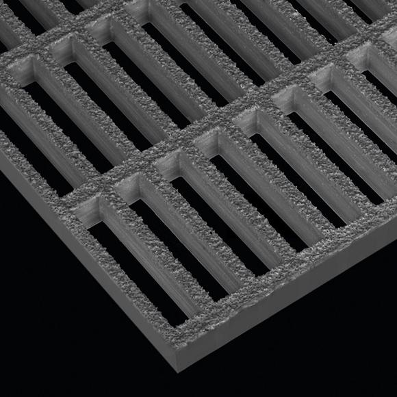 "Rectangular Mesh Grating, 1.5"" Thick, 1""x6"" Rectangle, Gritted Surface, Light Gray, Orthophthalic Resin"