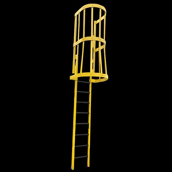 Yellow ladder on black background with walk through and cage
