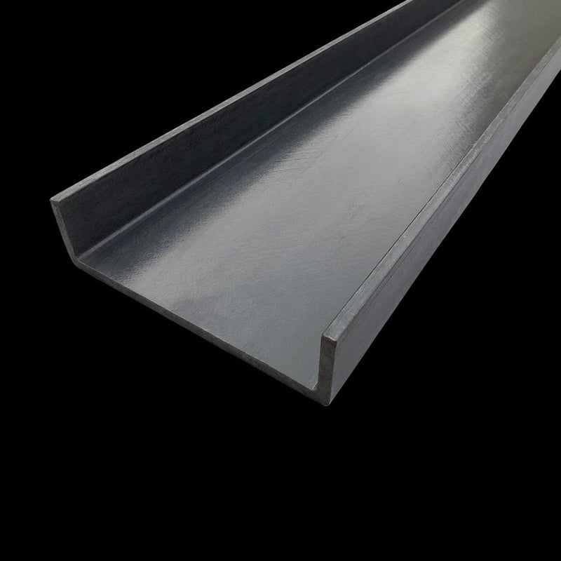 dark gray fiberglass channel on dark background