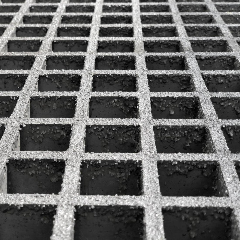 "Square Mesh Grating, 1"" Thick, 1.5"" Square, Gritted Surface, Light Gray, Isophthalic Resin"