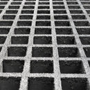"Square Mesh Grating, 1.5"" Thick, 1.5"" Square, Gritted Surface, Light Gray, Isophthalic Resin"