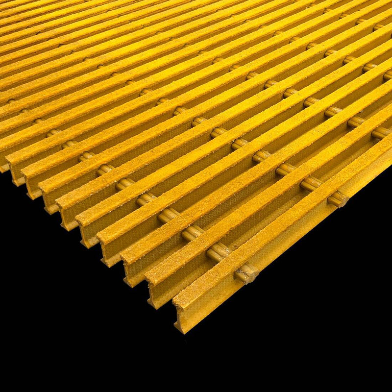"I-Bar Grating, 1"" Thick, 60% Open Area, Vinyl Ester, Yellow"