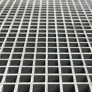 "Square Mesh Grating, 1-1/2"" Thick, 1-1/2"" Square, Meniscus Surface, Light Gray, Orthophthalic Resin"